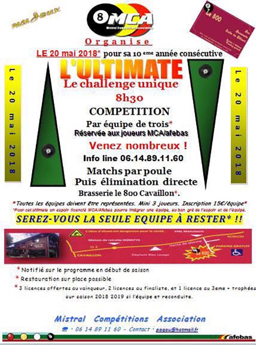 L ultimate mistral comp titions association cavaillon 84300 billard anglais blackball - Carte sur table cavaillon ...