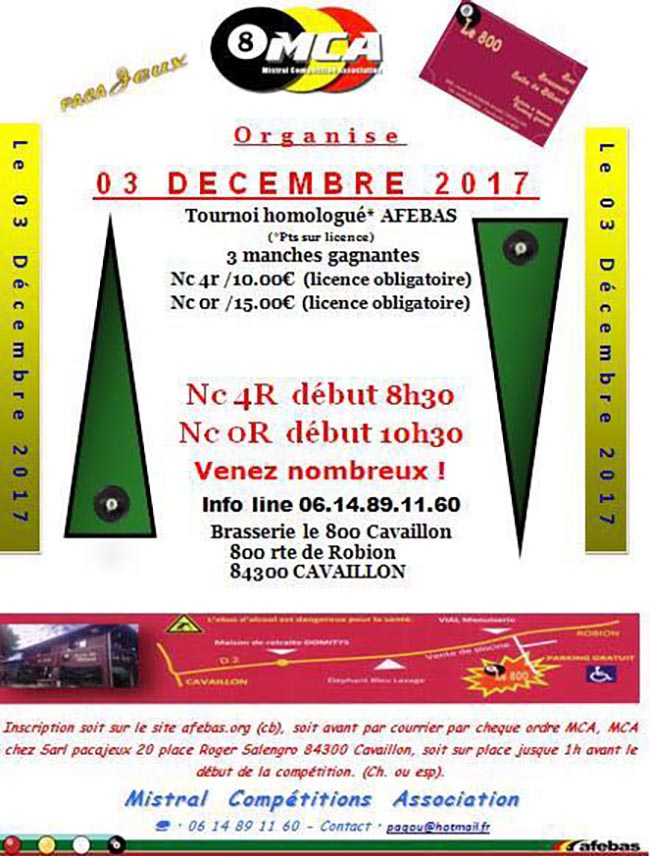 Tournoi nc 0r afebas de blackball cavaillon d cembre 2017 mistral comp titions association - Carte sur table cavaillon ...